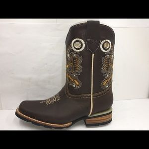 Cowboy kids brown boots quality genuine leather